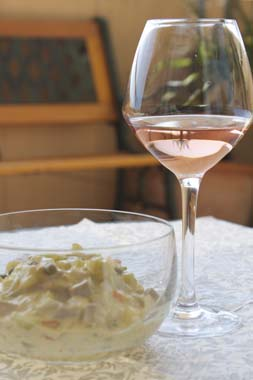 Rose-wine-of-Provence-and-Russian-salad-Vins-Breban