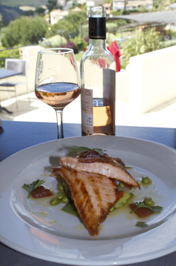 salmon-with-beans-and-lemon-souce-gypiere-rose-wine-aop-bandol-provence-wines-vins-breban